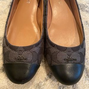 Coach black fabric and leather women's flats